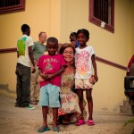 Chadasha missionary Sara Sealine poses with two of the heart surgery patients, Rutherchy and Naika.